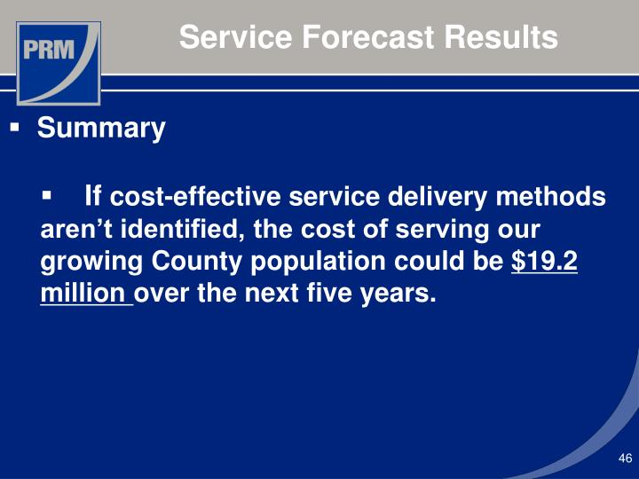 Service Forecast Results