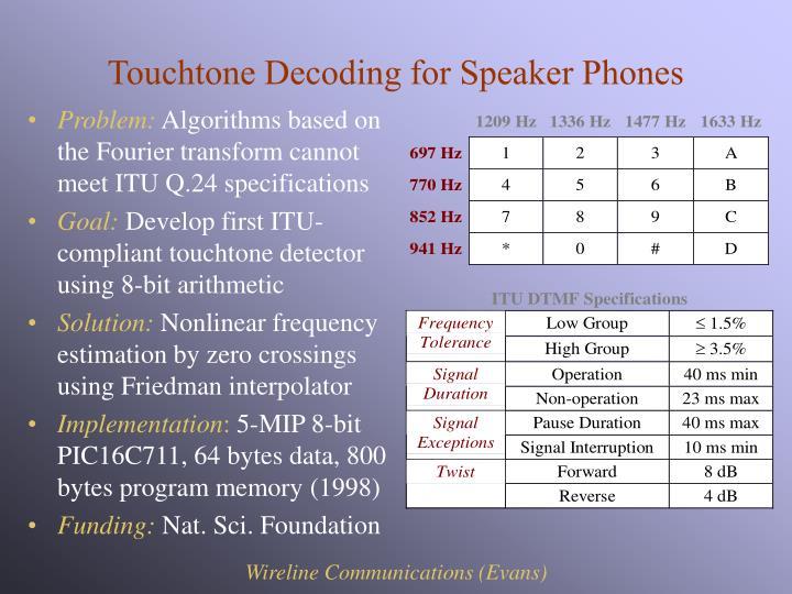 Touchtone Decoding for Speaker Phones