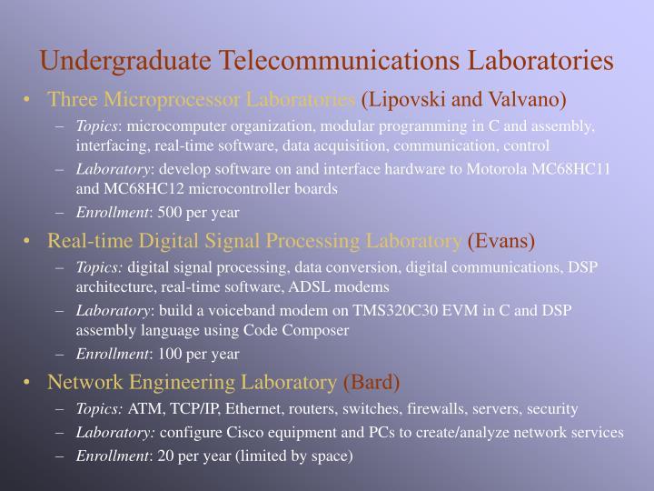 Undergraduate Telecommunications Laboratories