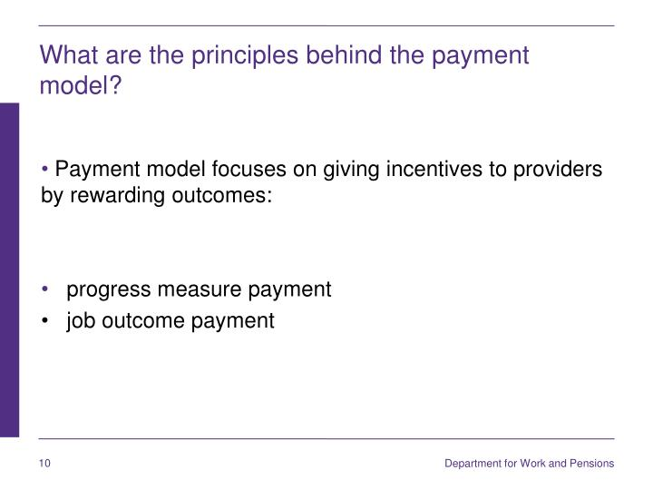 What are the principles behind the payment model?