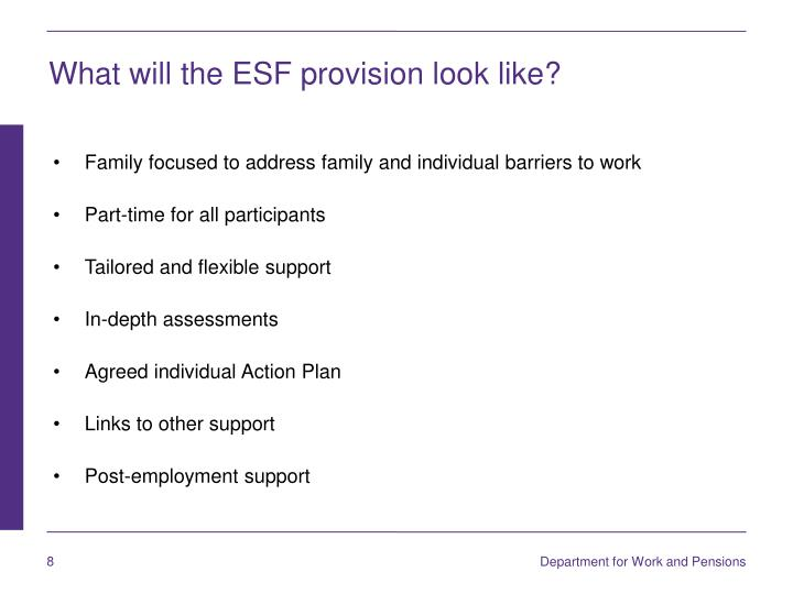 What will the ESF provision look like?