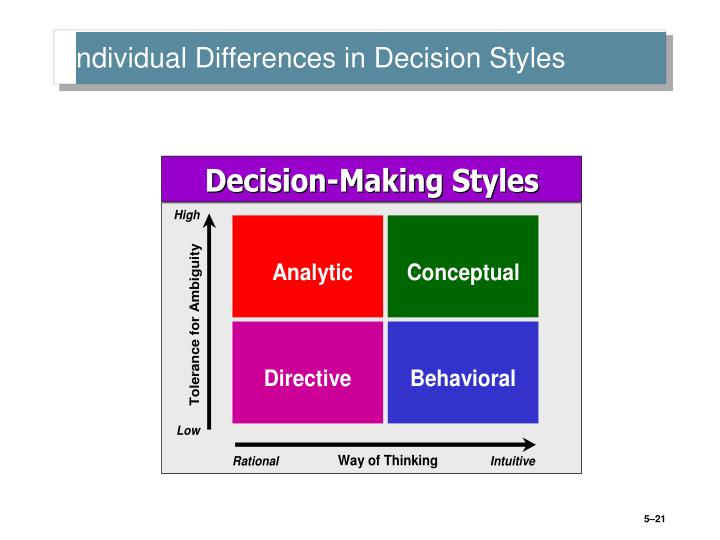 Individual Differences in Decision Styles