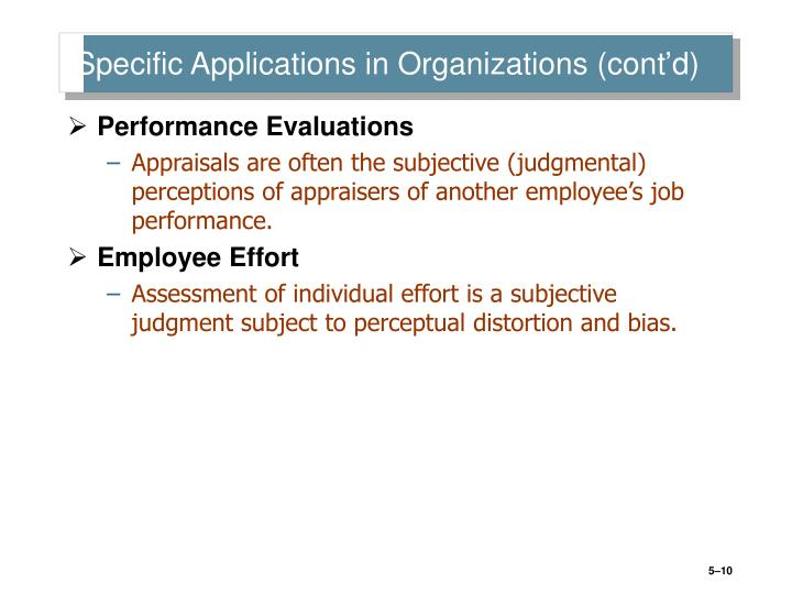 Specific Applications in Organizations (cont'd)