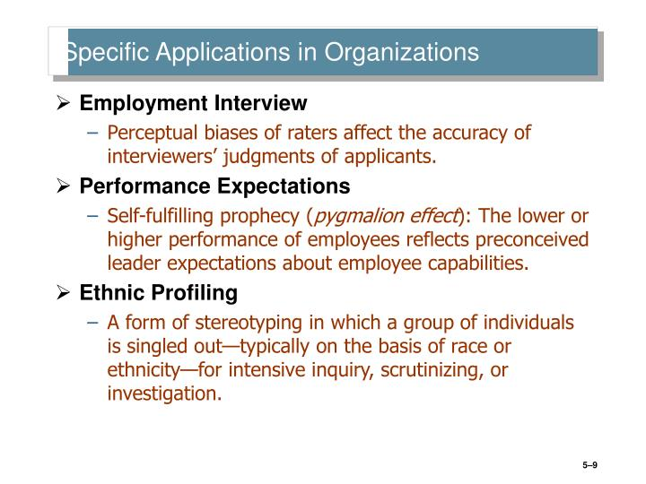 Specific Applications in Organizations