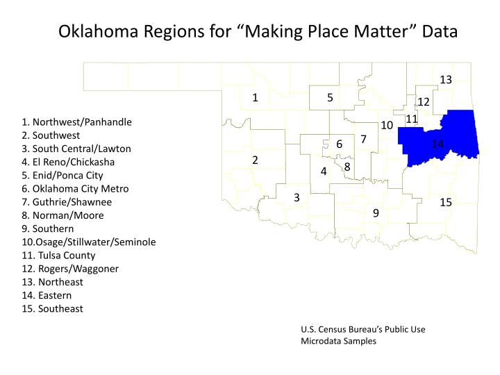 """Oklahoma Regions for """"Making Place Matter"""" Data"""
