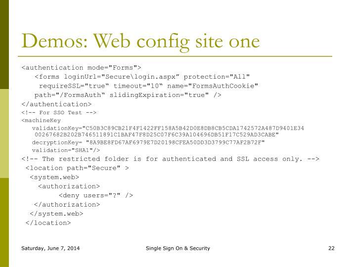 Demos: Web config site one