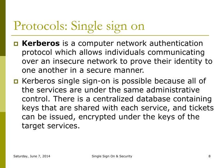 Protocols: Single sign on