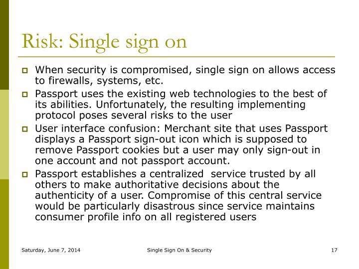 Risk: Single sign on