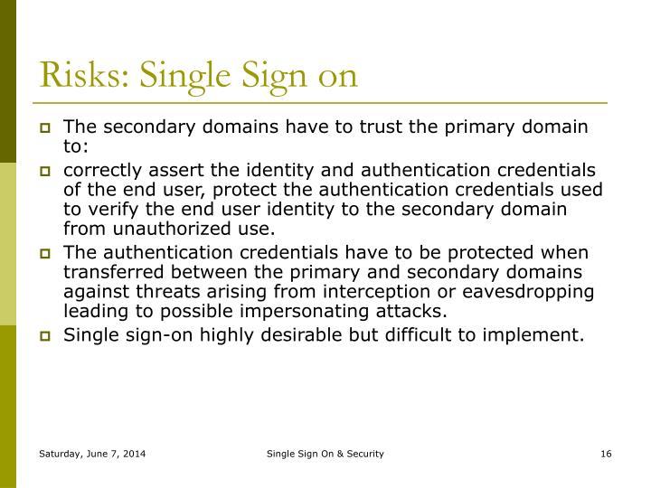 Risks: Single Sign on