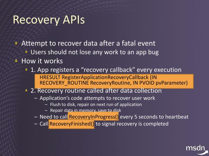 Recovery APIs