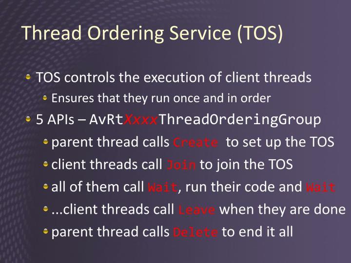 Thread Ordering Service (TOS)