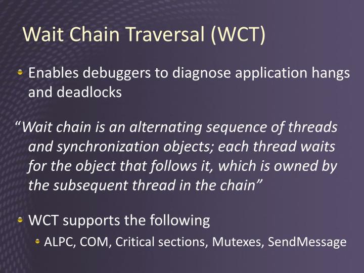 Wait Chain Traversal (WCT)