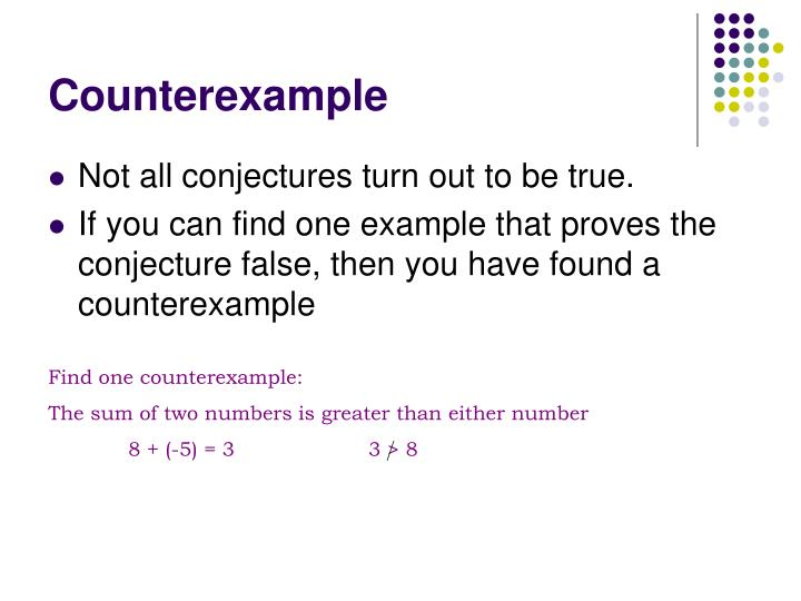 Find one counterexample: