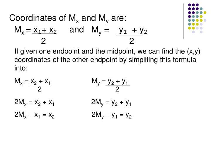 Coordinates of M