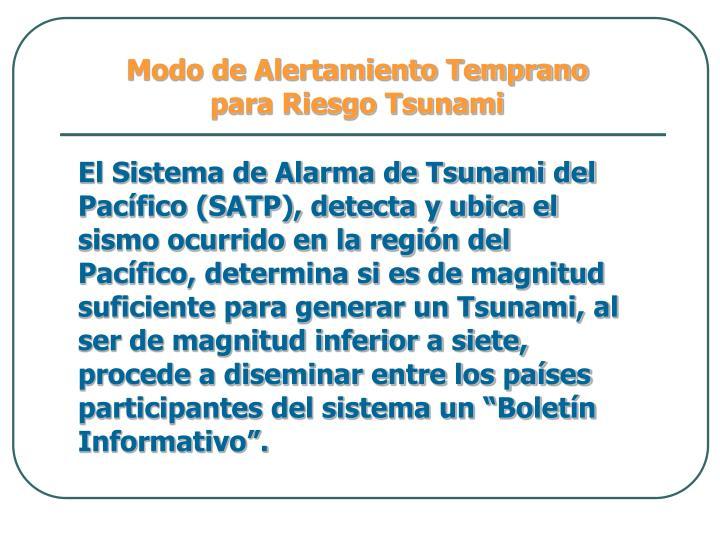 Modo de Alertamiento Temprano para Riesgo Tsunami