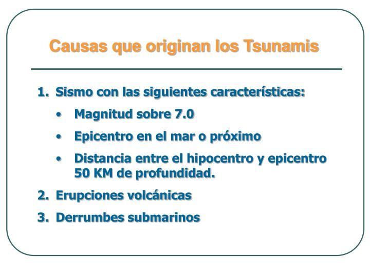Causas que originan los Tsunamis