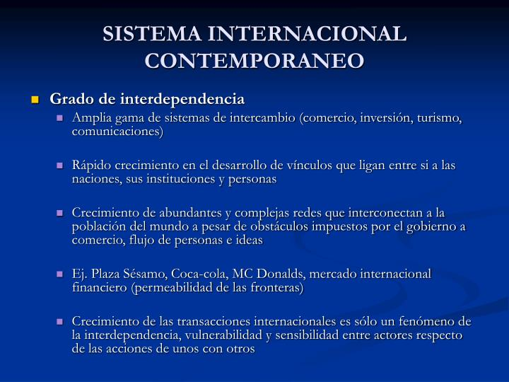 SISTEMA INTERNACIONAL CONTEMPORANEO