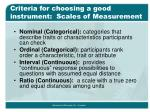 criteria for choosing a good instrument scales of measurement