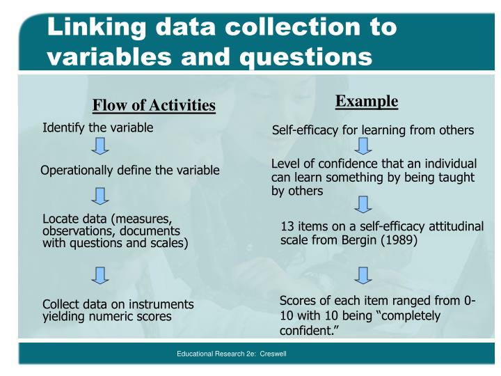 Linking data collection to variables and questions