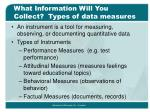 what information will you collect types of data measures