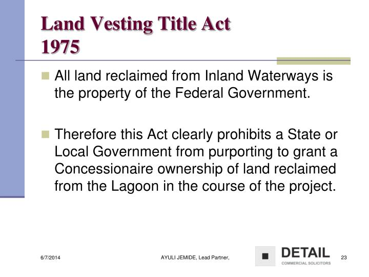 Land Vesting Title Act