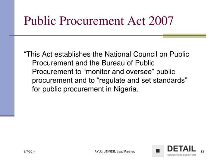 Public Procurement Act 2007
