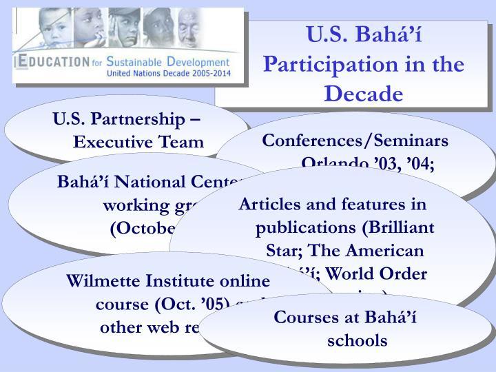 U.S. Bahá'í Participation in the Decade