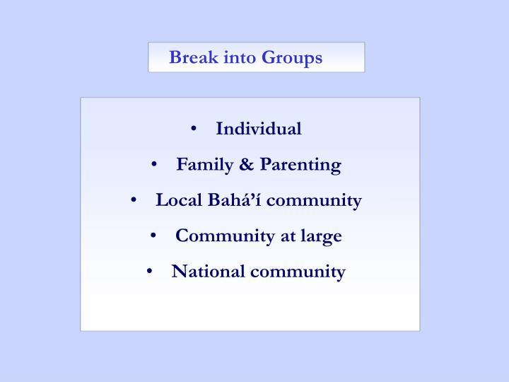 Break into Groups