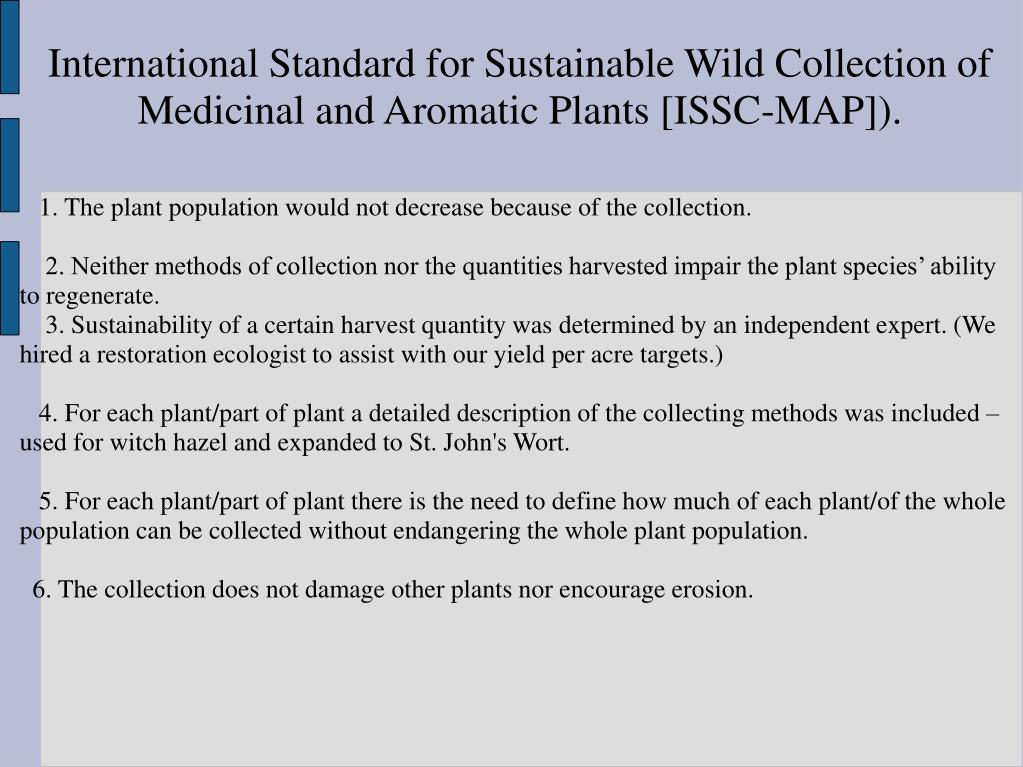International Standard for Sustainable Wild Collection of