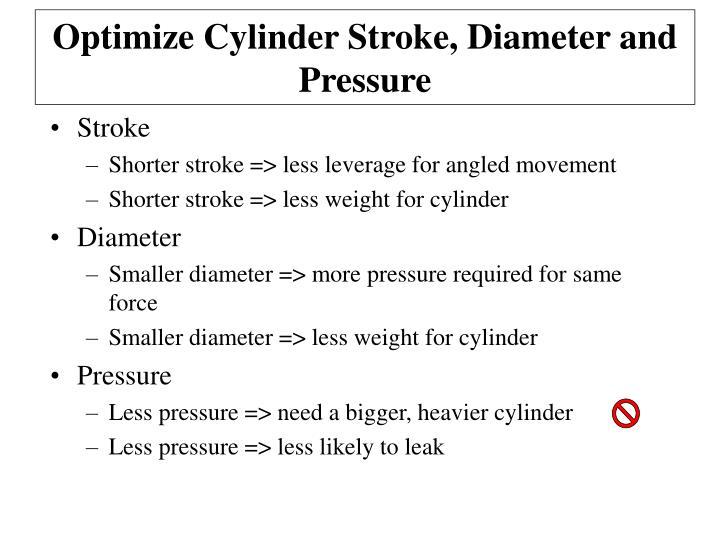 Optimize Cylinder Stroke, Diameter and Pressure