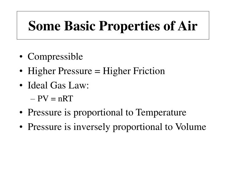 Some Basic Properties of Air