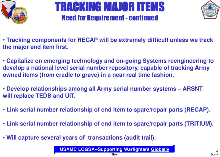 TRACKING MAJOR ITEMS