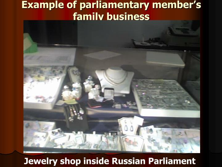 Example of parliamentary member's family business