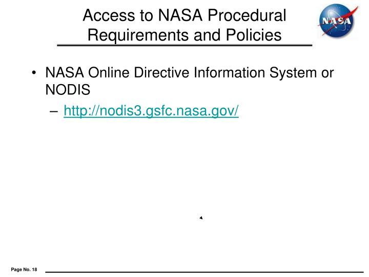 Access to NASA Procedural