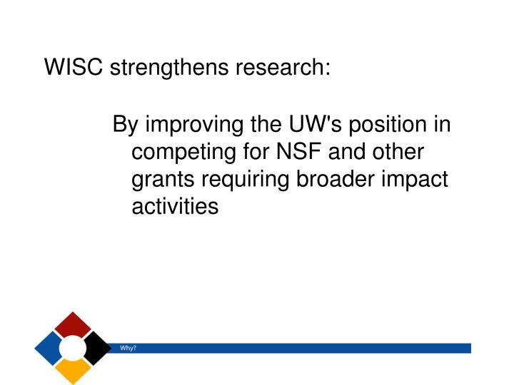 WISC strengthens research: