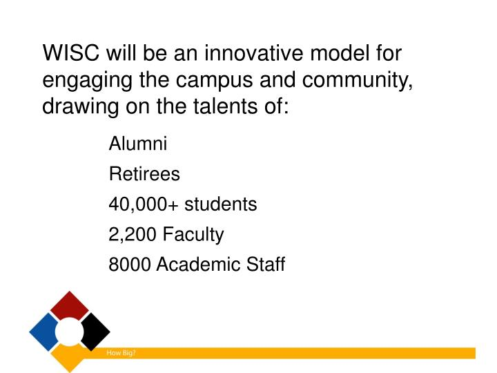 WISC will be an innovative model for engaging the campus and community, drawing on the talents of: