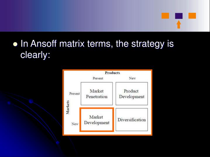 In Ansoff matrix terms, the strategy is clearly: