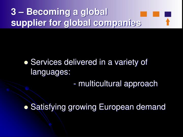 3 – Becoming a global                supplier for global companies