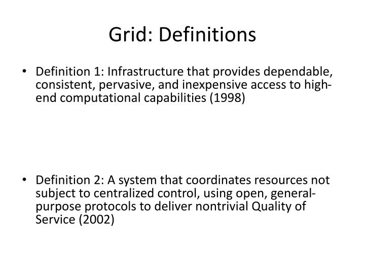 Grid: Definitions