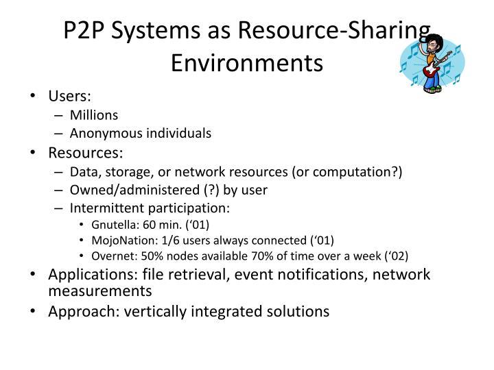 P2P Systems as Resource-Sharing Environments
