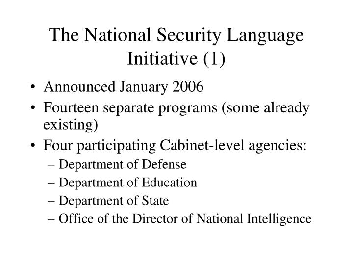 The National Security Language Initiative (1)