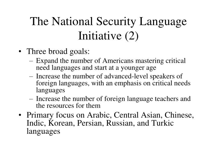 The National Security Language Initiative (2)
