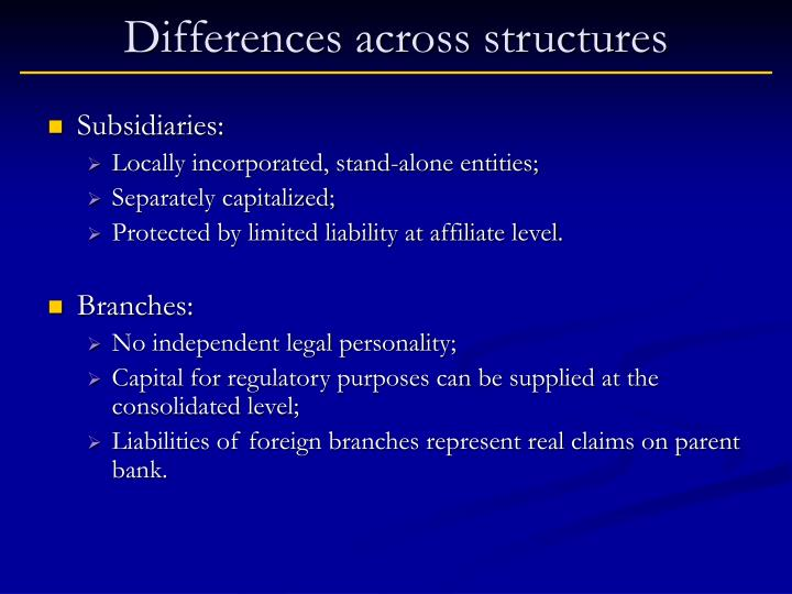 Differences across structures