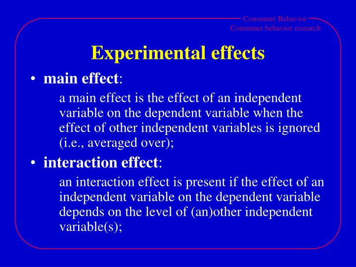 Experimental effects