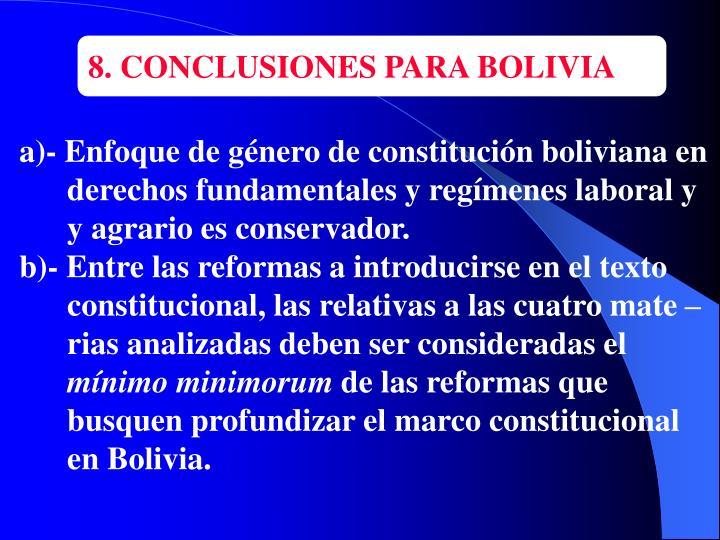 8. CONCLUSIONES PARA BOLIVIA