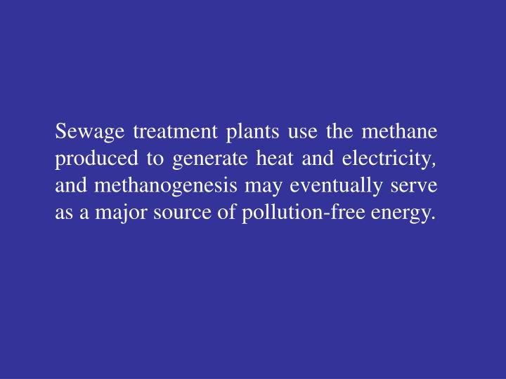 Sewage treatment plants use the methane produced to generate heat and electricity