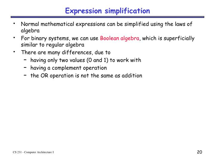 Expression simplification