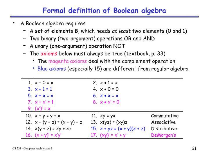 Formal definition of Boolean algebra