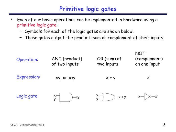 Primitive logic gates