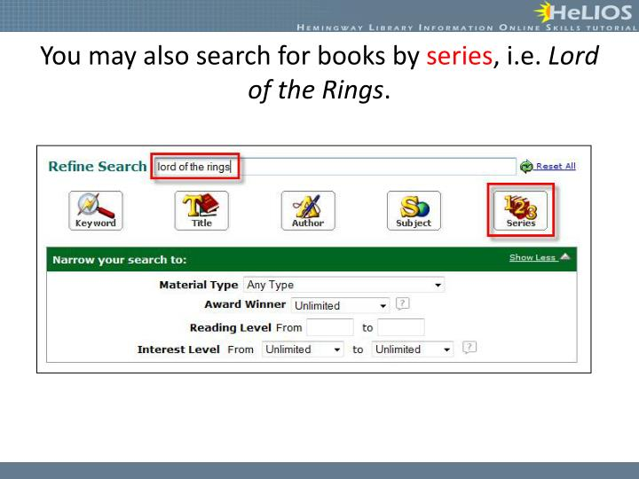 You may also search for books by